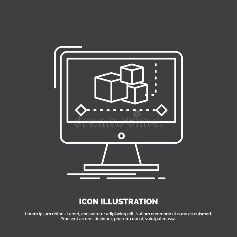 Анимация, компьютер, редактор, монитор, значок программного обеспечения r иллюстрация вектора