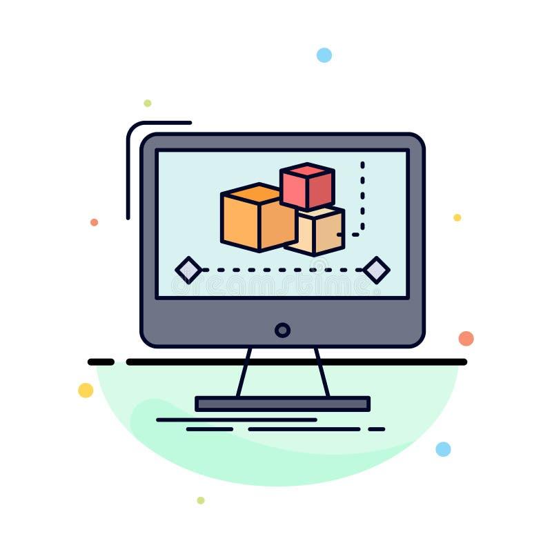 Анимация, компьютер, редактор, монитор, программный вектор цветных значков бесплатная иллюстрация
