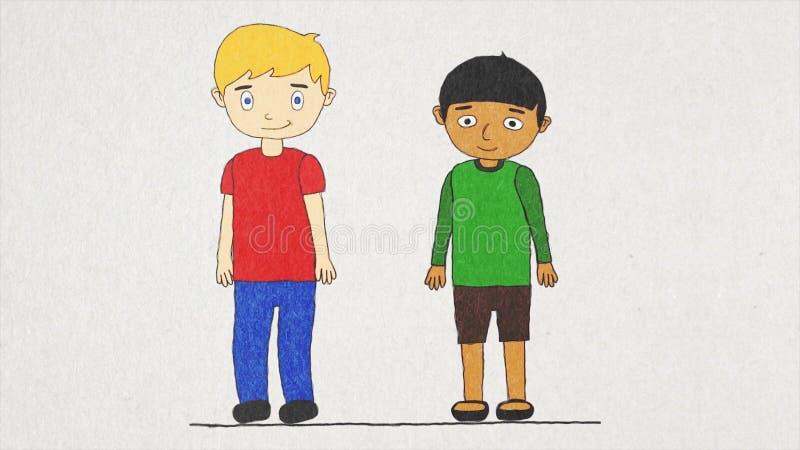 Анимация мультфильма с 2 мальчиками различных гонок живя в такой же концепции дома, допуска и братства Счастливый иллюстрация вектора