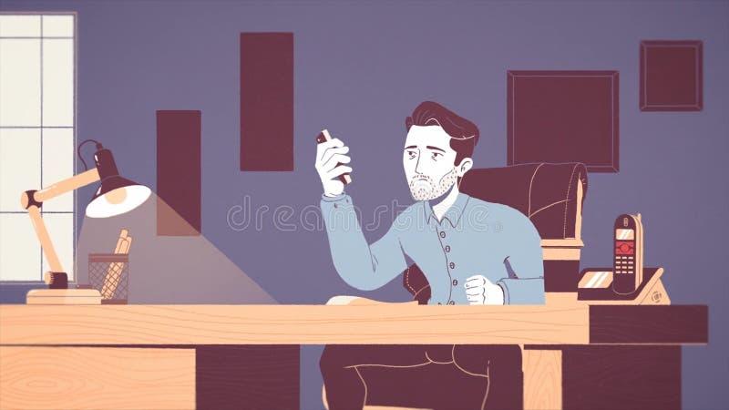 Анимация уставшего и усиленного бизнесмена работая на рабочем месте в офисе Мультипликационный фильм вымотанной молодой иллюстрация штока