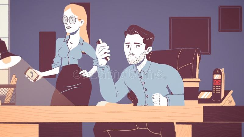 Анимация уставшего и усиленного бизнесмена работая на рабочем месте в офисе Мультипликационный фильм вымотанной молодой бесплатная иллюстрация