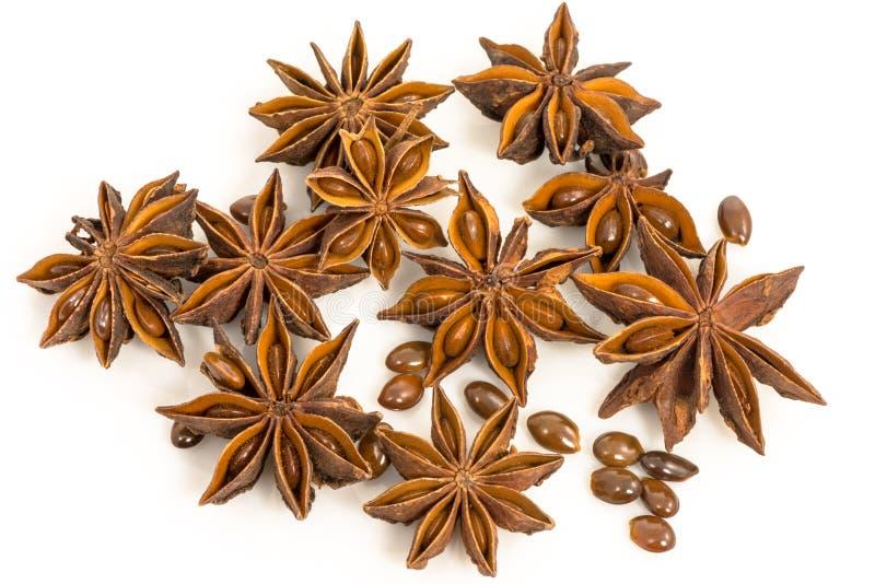 Анисовка звезды. высушенные семена L. anisum Pimpinella завода. стоковое изображение