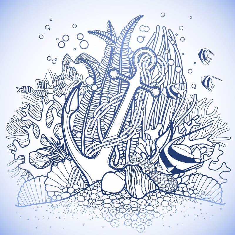 Анкер и коралловый риф иллюстрация штока