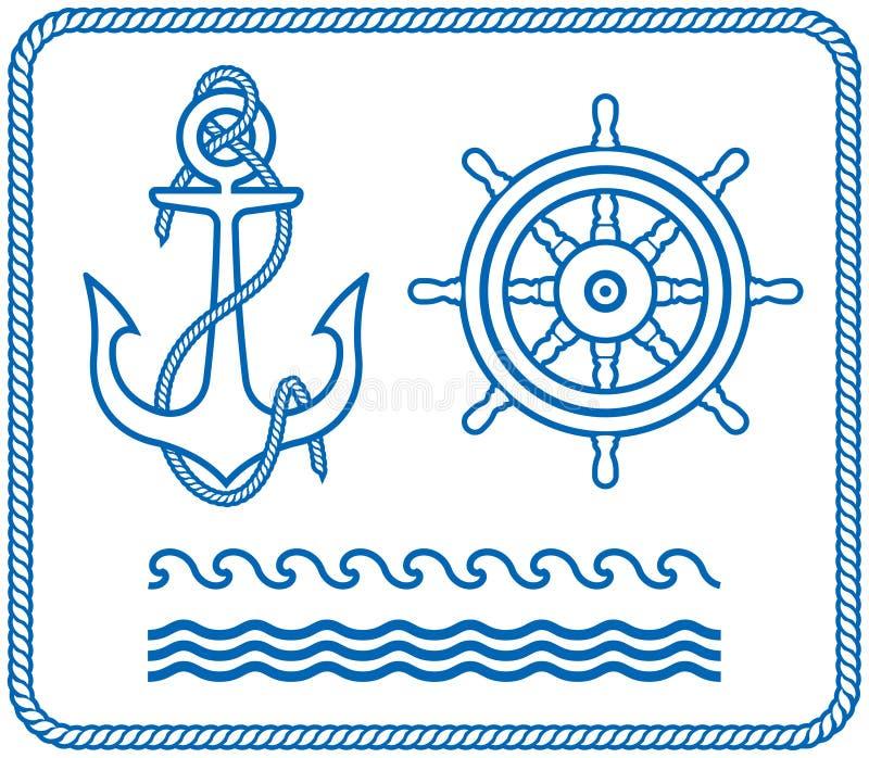 анкер конструирует кормило морское бесплатная иллюстрация