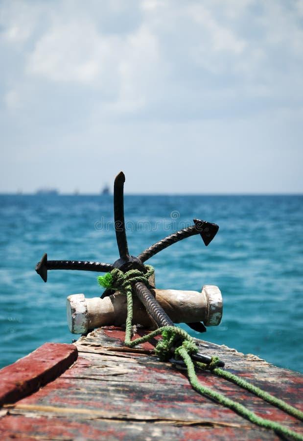 Анкер на море стоковая фотография