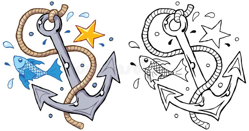 Анкер с матросом звезды морских звёзд веревочки рыб иллюстрация вектора