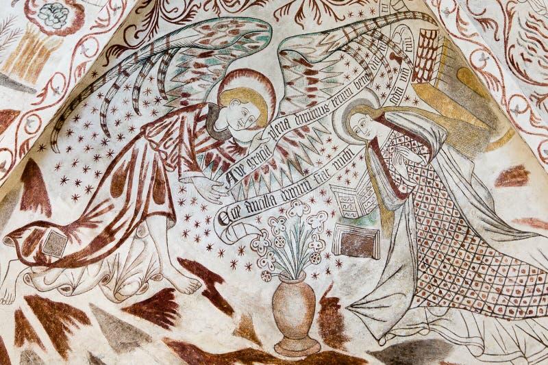 Аннунциация Фреска в датской церков стоковая фотография rf