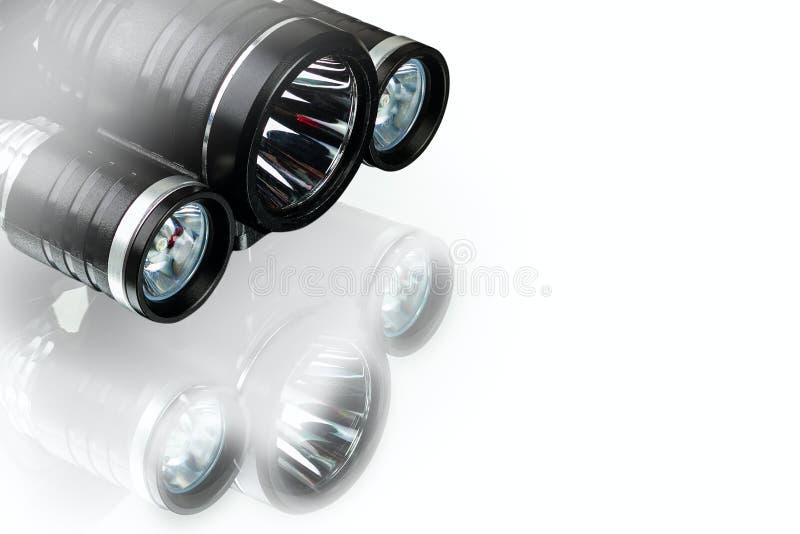 Анодированные алюминиевые водоустойчивые тактические электрофонарь и headlamp стоковое фото rf