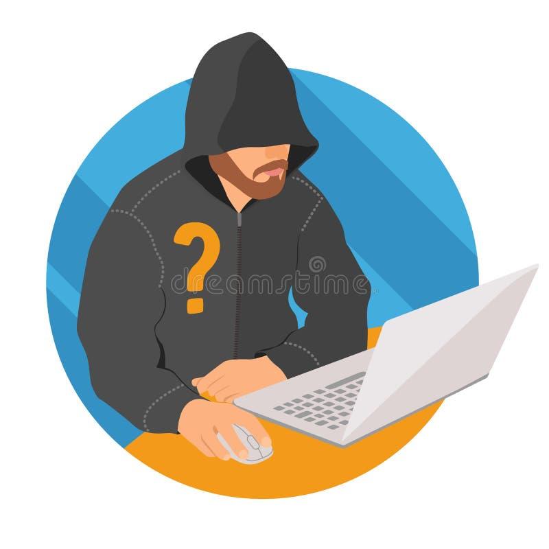 Анонимный потребитель на значке компьтер-книжки, плоском знаке анонимности сети дизайна, иллюстрации вектора иллюстрация штока