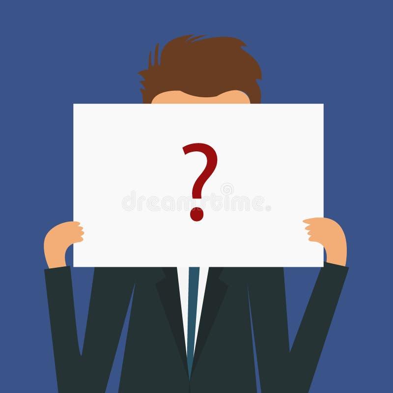 Анонимный человек с красным вопросительным знаком Не определил человека по имени Неизвестный безликий потребитель иллюстрация штока