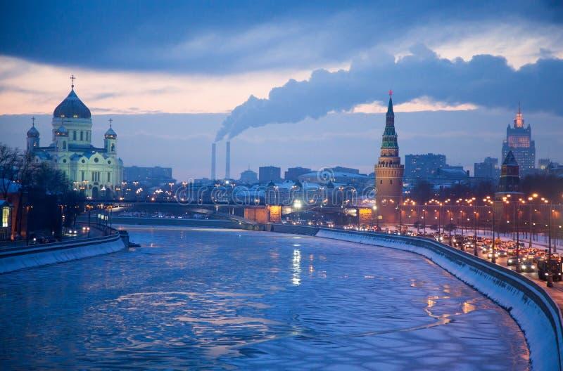 Ансамбль Москвы Кремля и виска Христоса спаситель стоковое фото rf