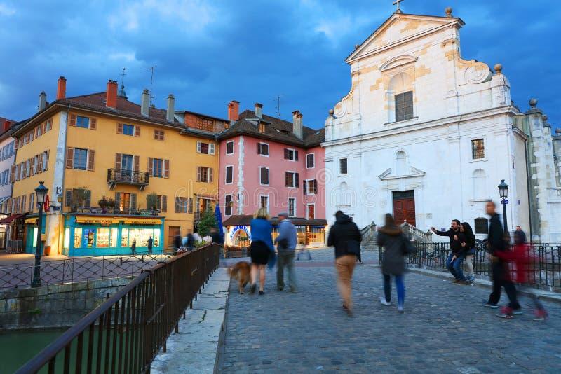 АНСИ, 18-ое апреля 2017 - вызванная архитектура Анси, Венецией Альпов Франции, Европы стоковые фото