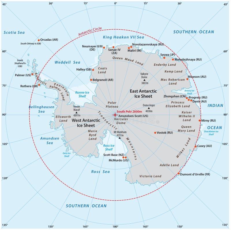 Антартическая карта иллюстрация вектора