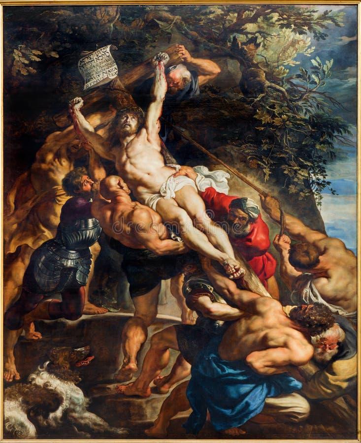 Антверпен - низложение креста (см 460x340) от лет 1609 до 1610 Питером Полом Rubens в соборе нашей дамы стоковое изображение rf