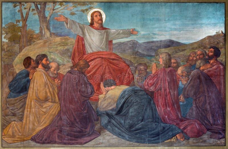 Антверпен - проповедь сцены Иисуса в церков Joriskerk или St. George от. цента 19. стоковое изображение