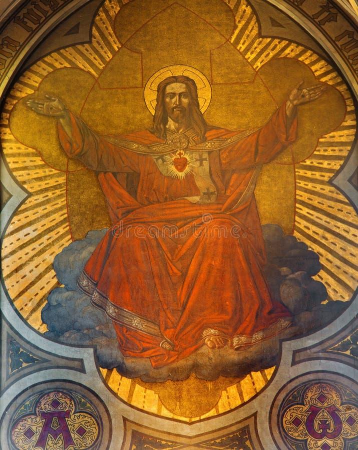 Антверпен - фреска сердца Иисуса в главной апсиде Joriskerk или церков St. George от. цента 19. стоковое изображение