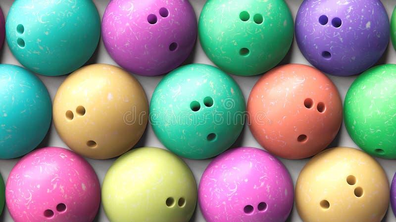 Антенна близкая вверх плотно упакованных красочных шариков боулинга иллюстрация вектора