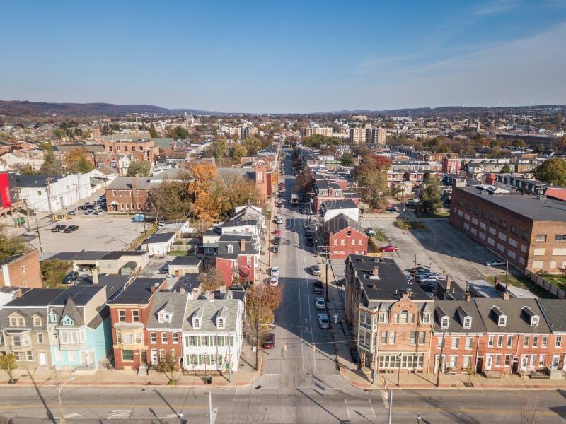 Антенна городского Йорка, Пенсильвании рядом с историческими Distr стоковое фото rf