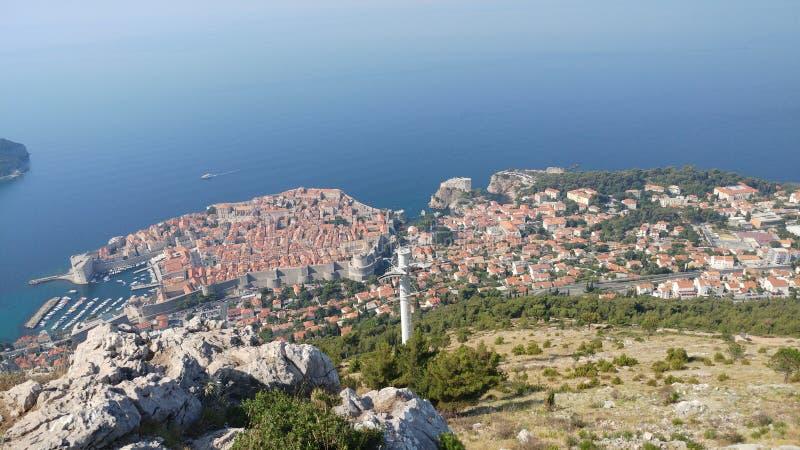 Антенна Дубровника Хорватии взгляда трутня стоковое изображение
