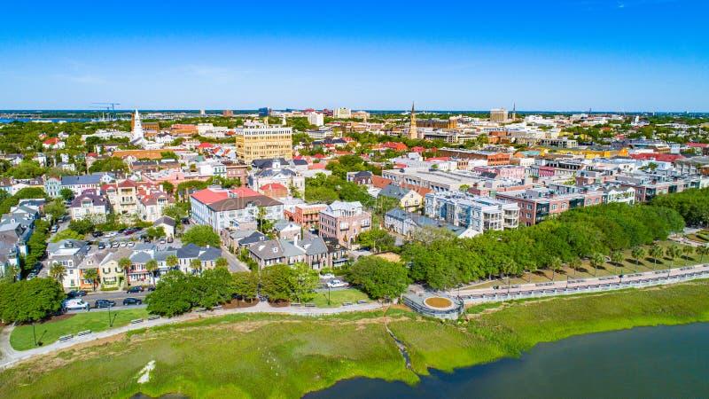 Антенна парка Чарлстона, Южной Каролины, портового района США стоковые изображения