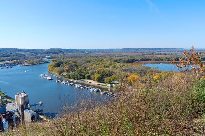 Антенна реки Миссисипи и Марины стоковое фото