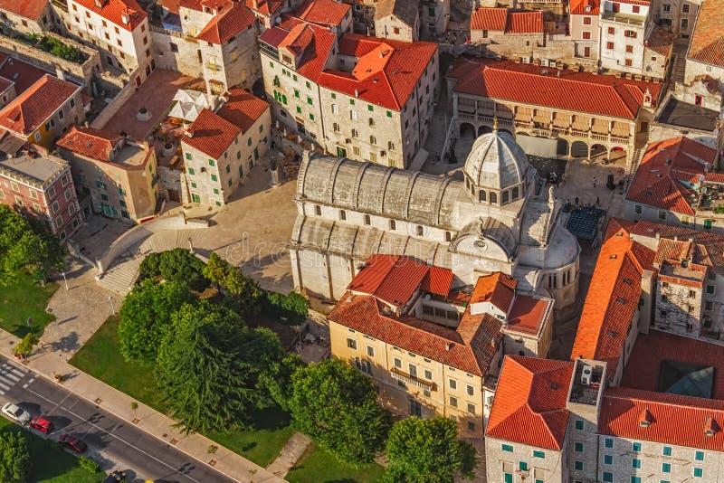 Антенна собора Sibenik стоковое фото rf