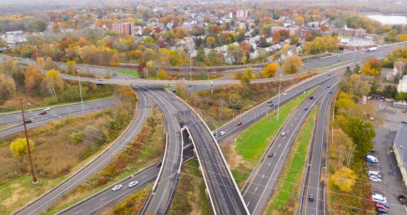Антенна Hartford Коннектикута шоссе Новой Англии восточная стоковое фото
