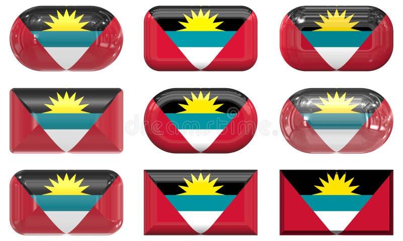 Антигуа barbuda застегивает стекло 9 флага бесплатная иллюстрация