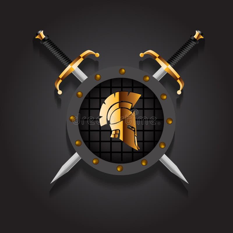 Антиквариаты римские или греческий шлем для солдат головной защиты с иллюстрация вектора
