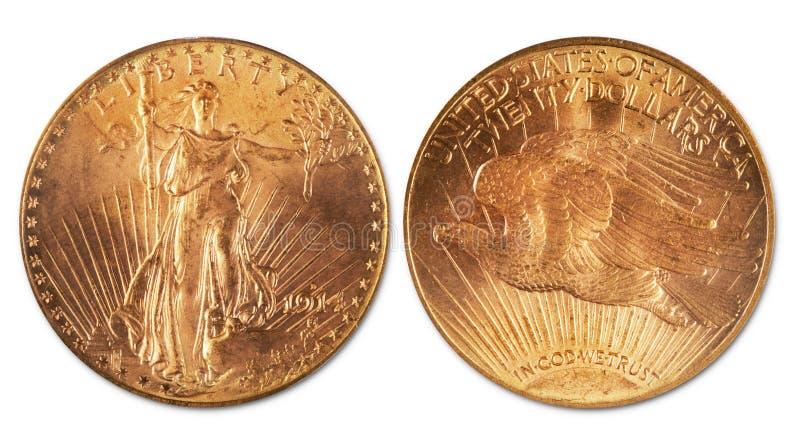Антиквариат золотая монетка 20 долларов стоковое изображение rf