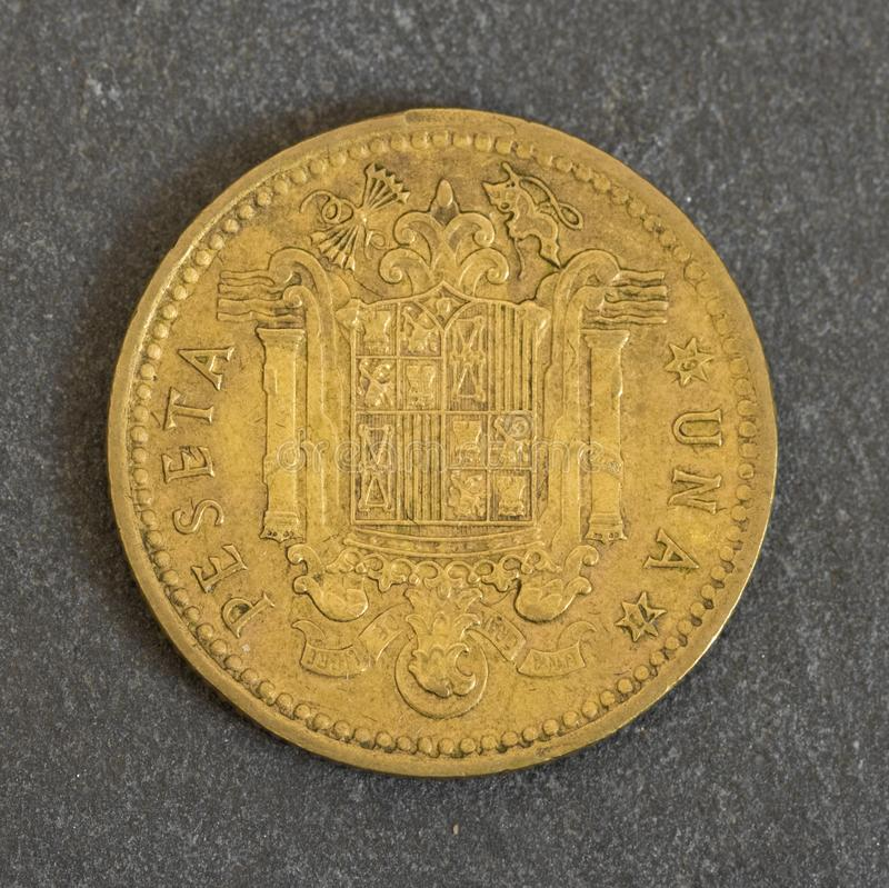 Антиквариат одна монетка peseta стоковое изображение rf