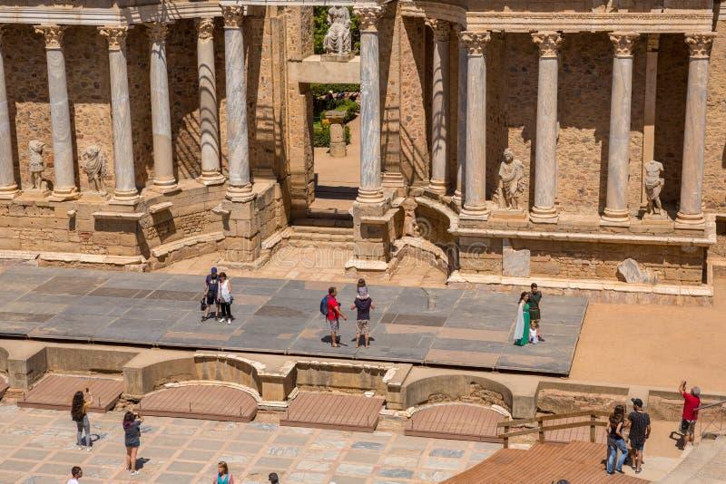 Антикварский римский театр Мериды стоковые изображения