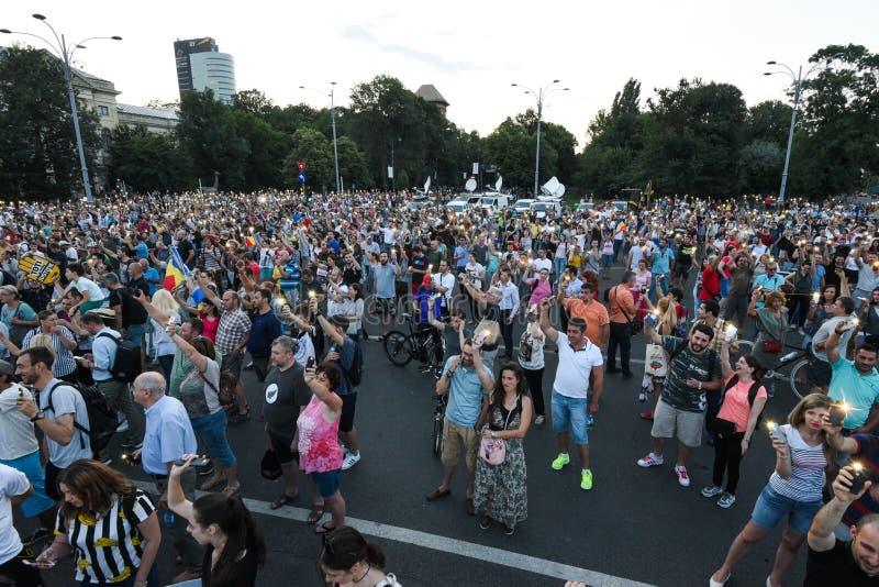 Антипровительственный протест в Бухаресте стоковое изображение rf
