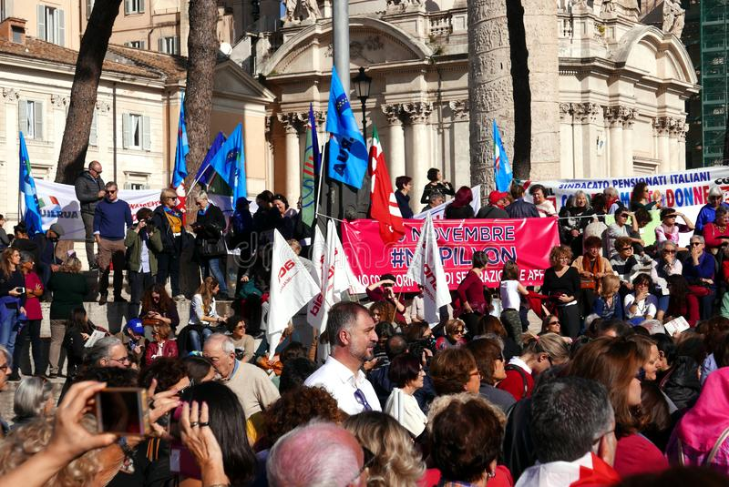 Антипровительственный протест в Риме стоковые фотографии rf