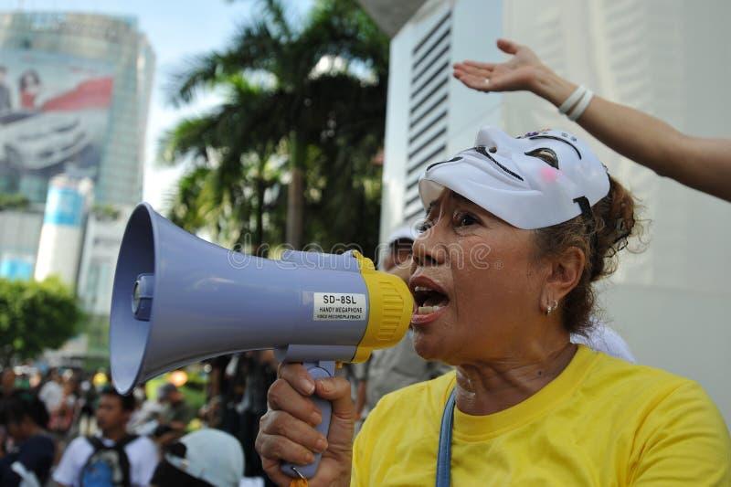 Антипровительственный «протест белой маски» в Бангкоке стоковые изображения rf