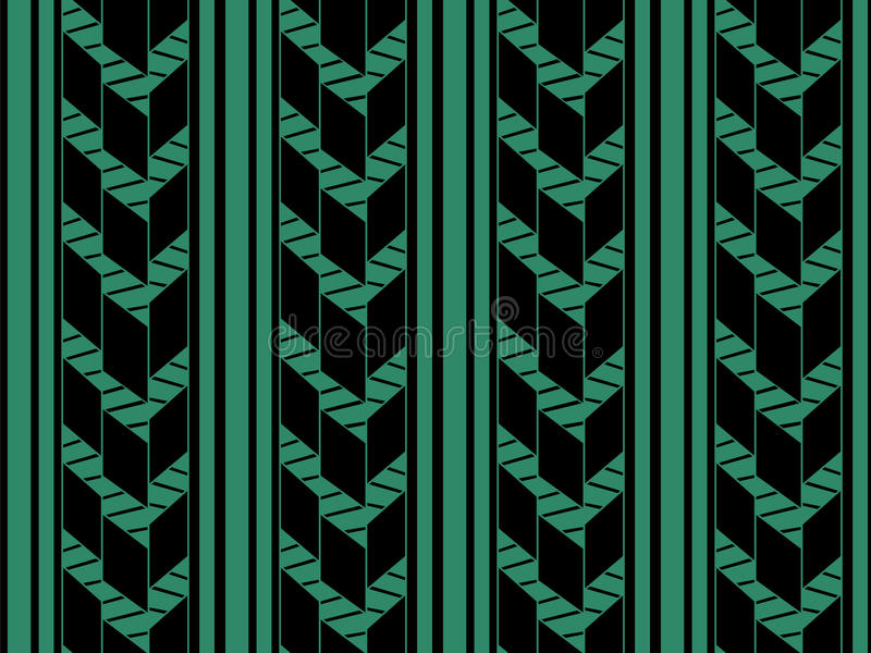 Античная безшовная зеленая линия стрелки проверки сведений иллюстрация вектора