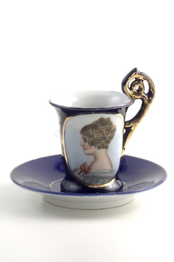 античная верхушка чашки coffe типа стоковое фото rf