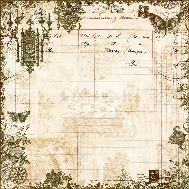 Античная викторианская флористическая предпосылка Scrapbook стоковое изображение