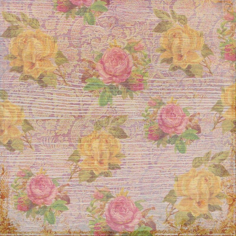 Античная винтажная затрапезная предпосылка роз стоковые фото