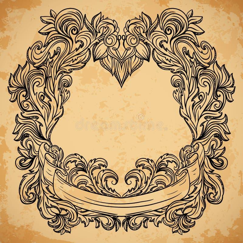 Античная гравировка рамки границы с ретро картиной орнамента Элемент винтажного дизайна декоративный в стиле барокко на постарето бесплатная иллюстрация