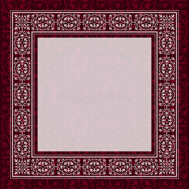 Античная граница рамки на красной предпосылке иллюстрация вектора