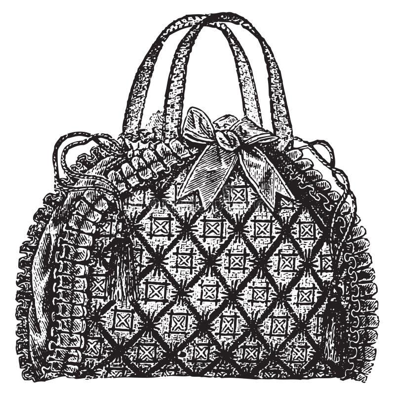 Античная иллюстрация портмона сумки. иллюстрация штока