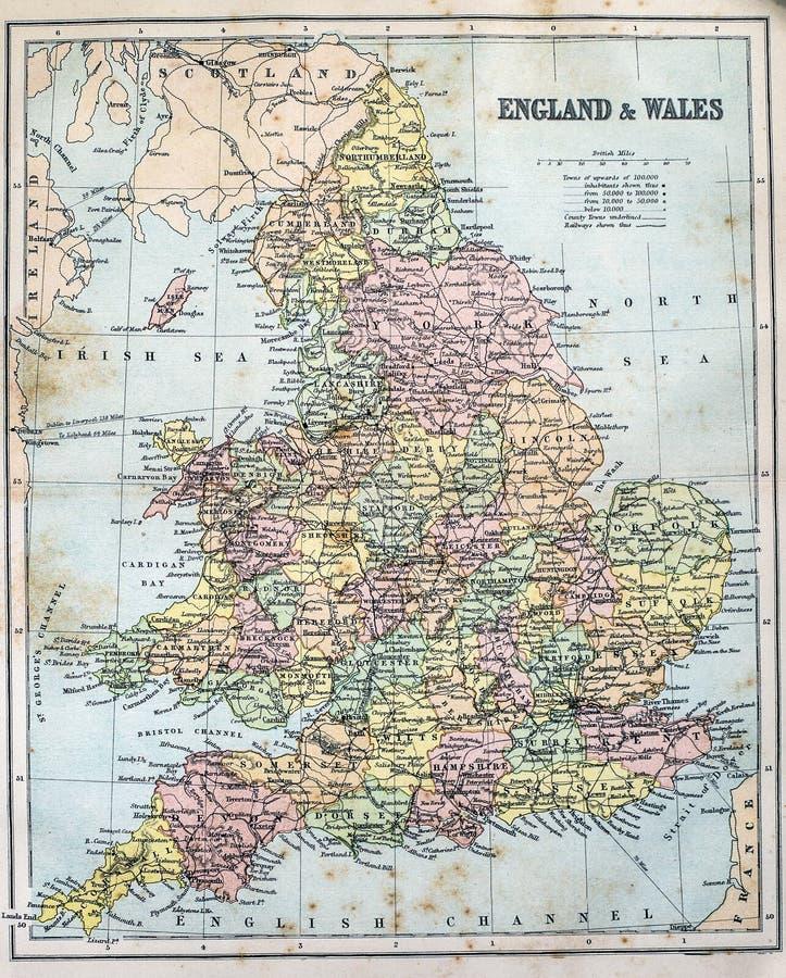 Античная карта Англии и Уэльса стоковые изображения rf