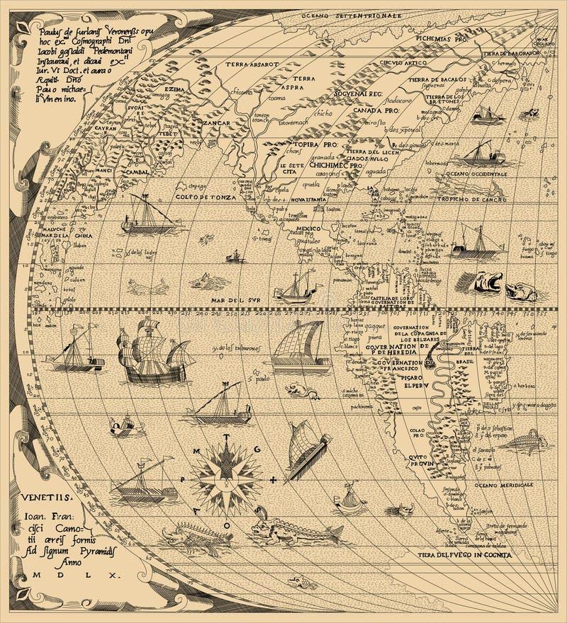 Античная карта мира, Северная Америка, Южная Америка, Китай Год 1520 иллюстрация вектора