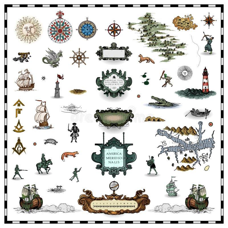 античная карта элементов иллюстрация вектора