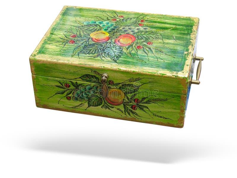 античная коробка украсила древесину изолированную зеленым цветом стоковое изображение