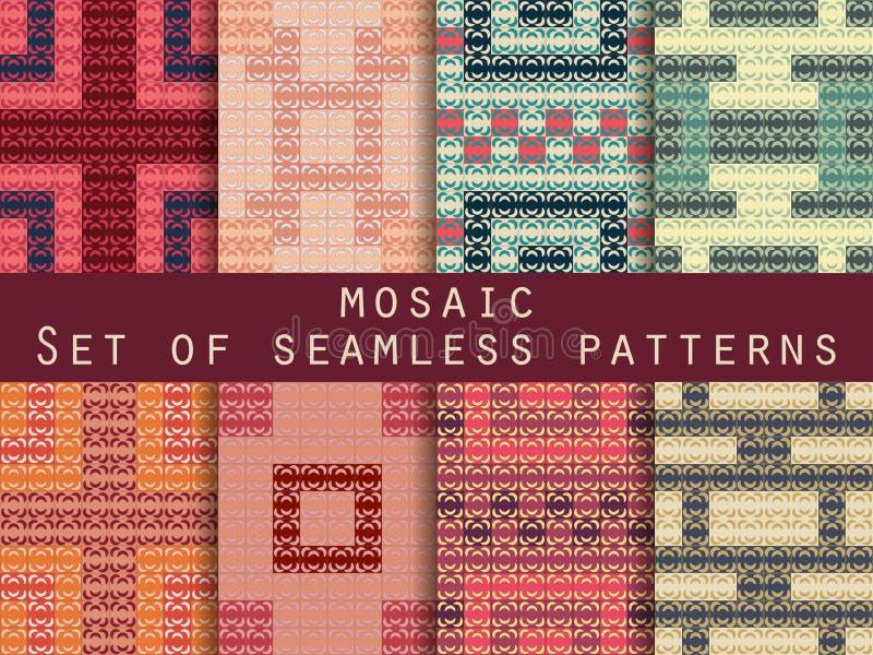 Античная мозаика, римская мозаика делает по образцу безшовный комплект вектор бесплатная иллюстрация