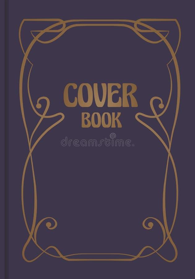Античная обложка книги с декоративной орнаментальной модернистской границей иллюстрация вектора