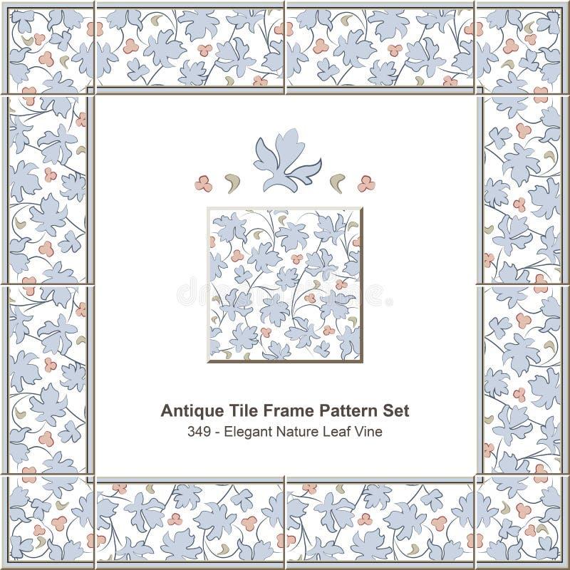 Античная лоза лист природы картины set_349 рамки плитки элегантная иллюстрация вектора