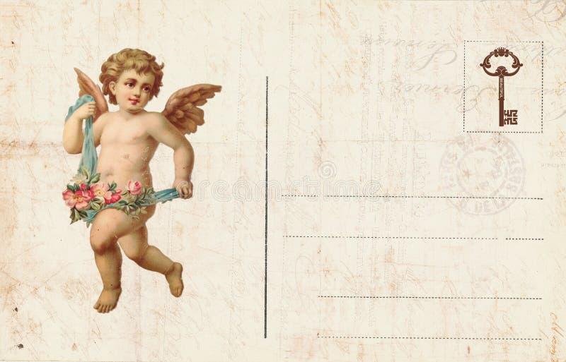 Античная открытка ` s валентинки стиля отличая купидоном и сердцем стоковое фото
